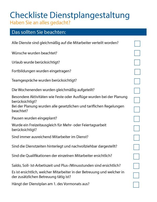 Checkliste Dienstplangestaltung